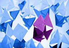 Origami, Goldfisch aus Papier gefaltet