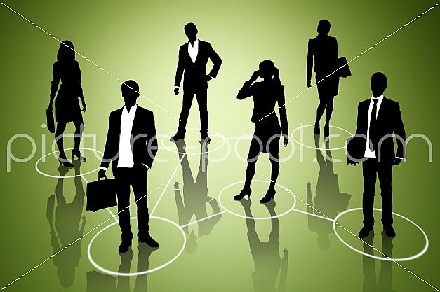 Business People auf grünem Untergrund