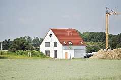 Einfamilienhaus, Baukran