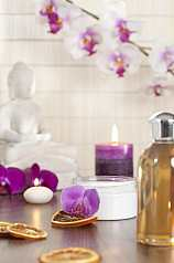 Creme, Orchidee, Öl, Kerzen