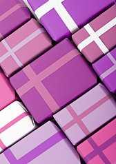 Closeup Geschenkpakete in harmonischen Farben Rot, weiß und Pink